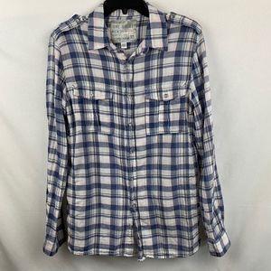 The Shirt Blue Plaid Button Down Shirt - M